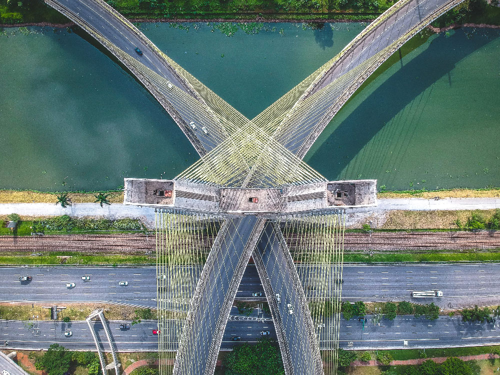 Two bridges over a river crossing each other